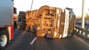 Wywrócona ciężarówka [br]zablokowała Modlińską