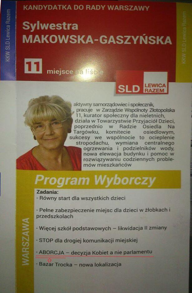 Ulotka wyborcza Sylwestry Makowskiej-Gaszyńskiej SLD